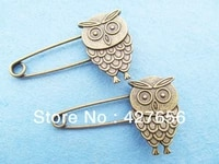 2pcs good quality antique bronze night owl broochbreastpin pendant charmfinding