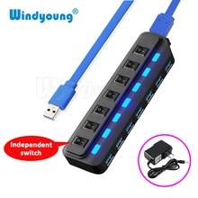 Windyoung USB3.0 HUB 7 ports avec charge dalimentation et interrupteur plusieurs adaptateur dalimentation USB LED interrupteur marche/arrêt séparateur pour ordinateur portable