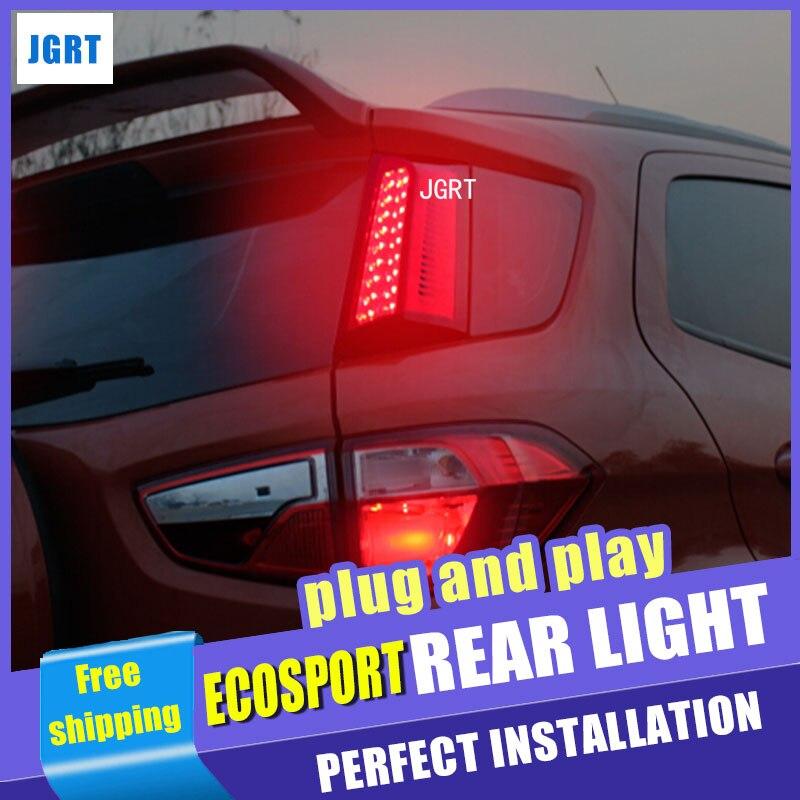 Accesorios de estilo de coche para Ford Ecopsort montaje de luz trasera 2014-2015 LED luz trasera LED DRL + freno + Parque + señal 2 uds.