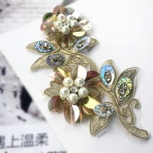 Champagne flor peal lentejuelas parches con cuentas de diamantes de imitación para ropa parches termoadhesivos para Pegatinas de ropa para ropa