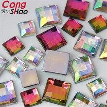 Cong Shao 10/14mm Quadratische form AB farbe Acryl strass applique steine und kristalle Edelsteine Flatback DIY Hochzeit kleid CS18