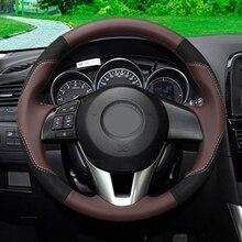 GNUPME Artificial Leather Steering Cover Black Car Steering Wheel Cover for Mazda CX-5 CX5 Atenza 2014 New Mazda 3 CX-3 2016