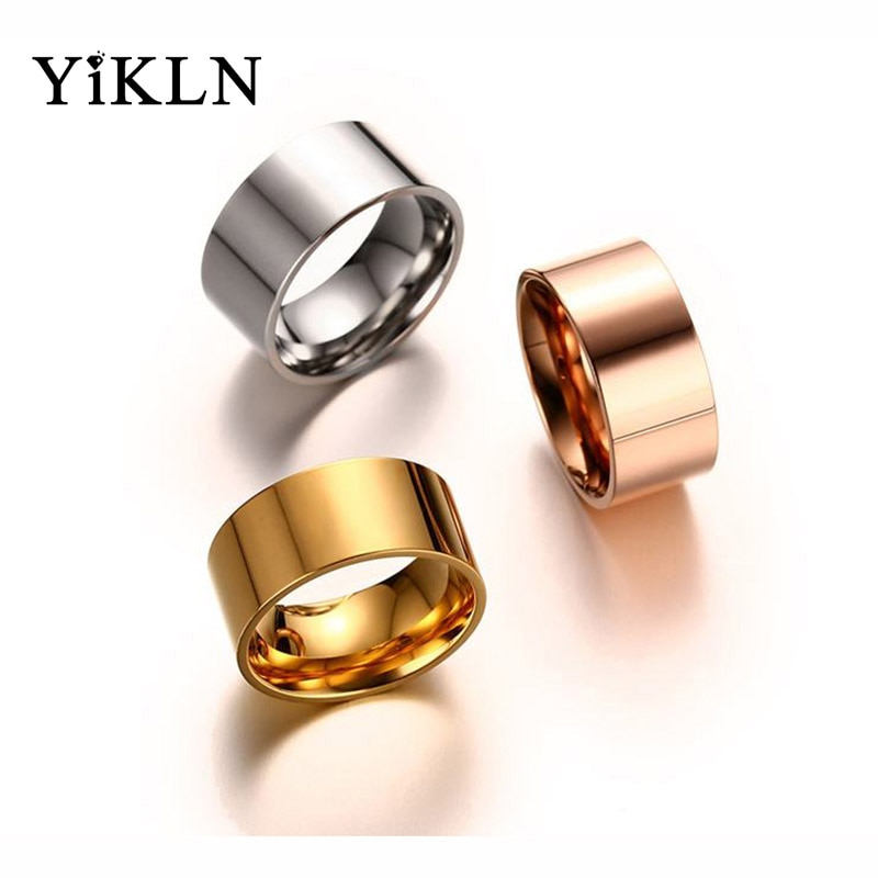 Anillos YiKLN de diseño Simple de 10mm de ancho de acero inoxidable, anillos lisos de moda de oro rosa/plata/oro para fiesta, joyería para mujeres y hombres YR19159