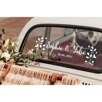 Autocollant de voiture de mariage en vinyle  Design artistique Floral  affiche murale personnalisee avec nom et Date  decor a la mode  XL51