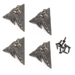 OOTDTY 4x de Bronze Antigo de Bronze Do Vintage Jóias Caixa de Presente Caixa De Madeira Decorativa Pés Perna Peito Protetor De Canto de Metal Com Parafusos