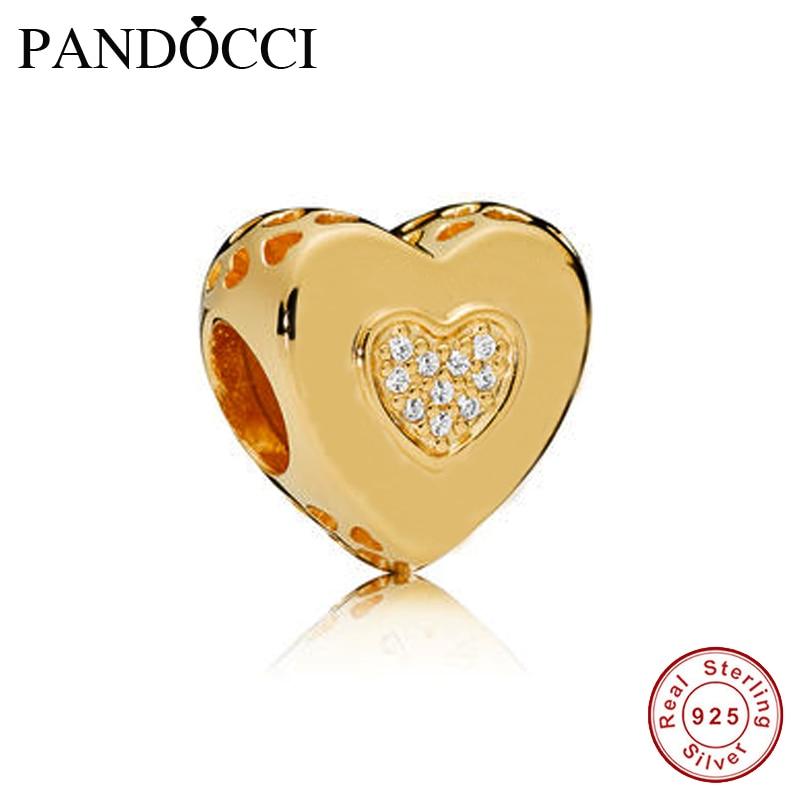 QANDOCCI Signature Heart Charm Shine Clear CZ DIY se adapta a pulseras de dijes originales joyería de plata de ley 925