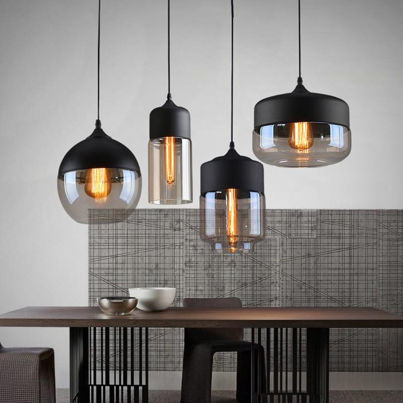 Nordic Modern loft hanging Glass Pendant Lamp Fixtures E27 E26 LED Pendant lights for Kitchen Restaurant Bar living room bedroom  - buy with discount