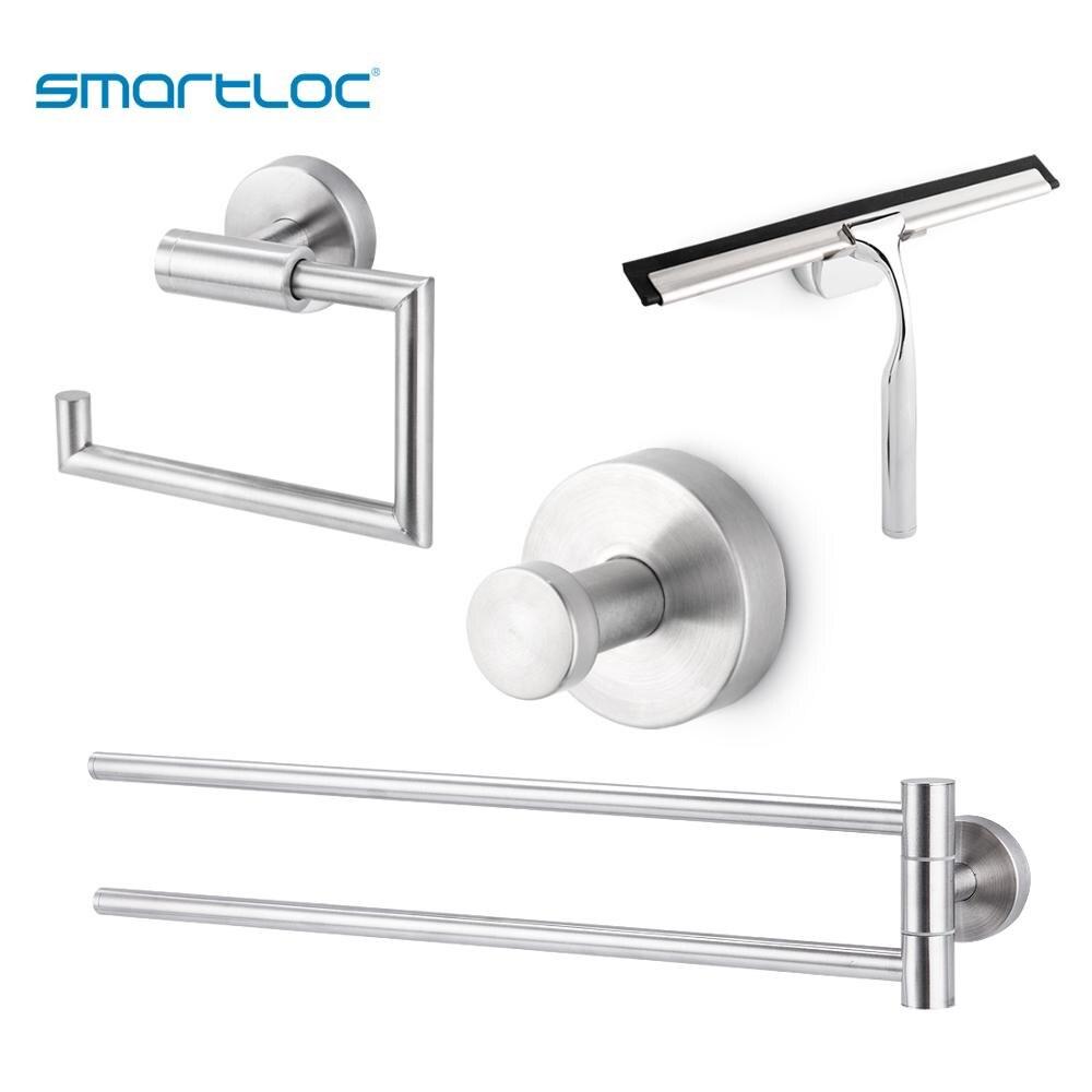 Smartloc Set de accesorios de baño de acero inoxidable, soporte de papel higiénico, gancho de tejido, toallero, barra, escurridor, montado en la pared