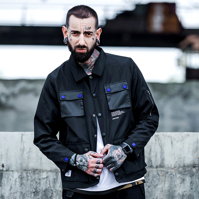 Chaqueta Bomber de moda para hombre con diseños de letras de calle, multibolsillos, piloto, chaqueta de bombardero, abrigo, chaquetas de hombre, chaqueta Vintage