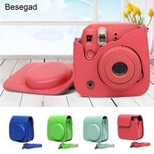 Besegad sac en cuir pour appareil photo numérique protecteur de étui pour Polaroid Fujifilm Instax Mini 9 Mini9 Gadgets dimpression instantanée