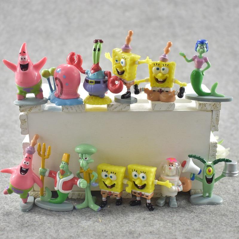 8 видов стилей, Губка Боб, классика, аниме, ПВХ, Патрик, звезда/щупальца на прищупальца/Юджин/Шелдон/Гари, фигурки, детские игрушки, рождествен...