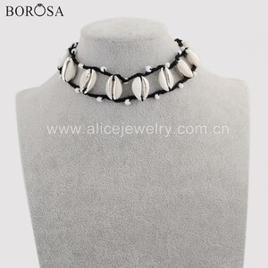 BOROSA 2PCS Handcrafted Silver Color Eleven Natural Cowrie Shell Beads Adjustable Black Rope Choker Necklace Jewelry HD0018
