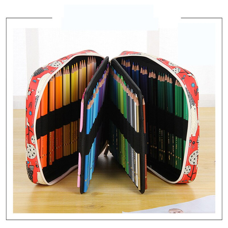 Bolsa de lápiz multifuncional de impresión gran capacidad creativa ranura 150 dibujo de flores bonito estuche de pluma suministros de arte tela Oxford
