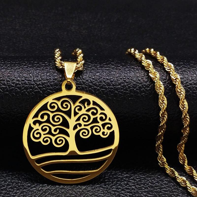 2020 Модное Длинное Золотое ожерелье из нержавеющей стали для мужчин ювелирные изделия дерево жизни Ожерелья Подвески Ювелирные изделия ...