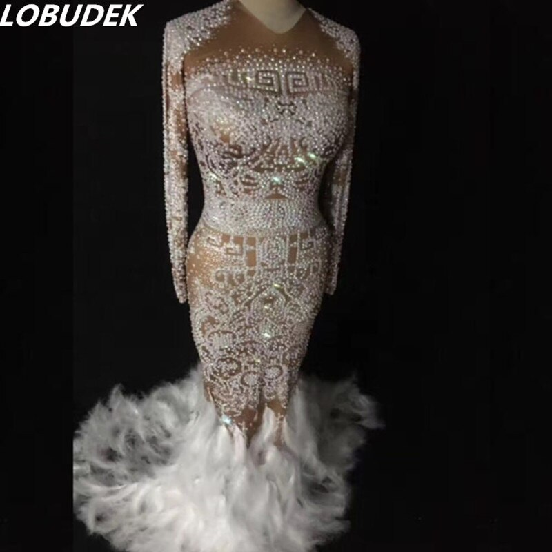 Robe de traînée de plumes blanches cristaux brillants costumes féminins sexy robe de smoking une pièce DJ DS show chanteur danse discothèque star