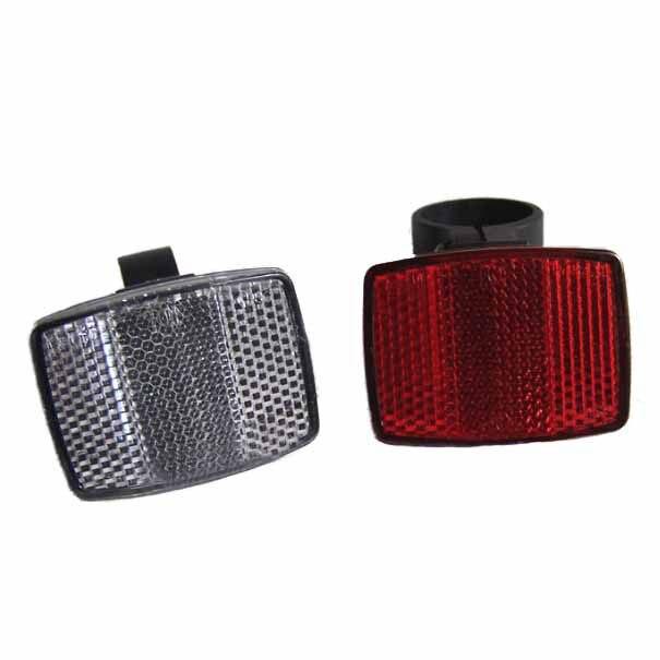 1 Pair Cycle Bicycle Bike Light Reflector Rear Front For Handlebar & Saddle Bar