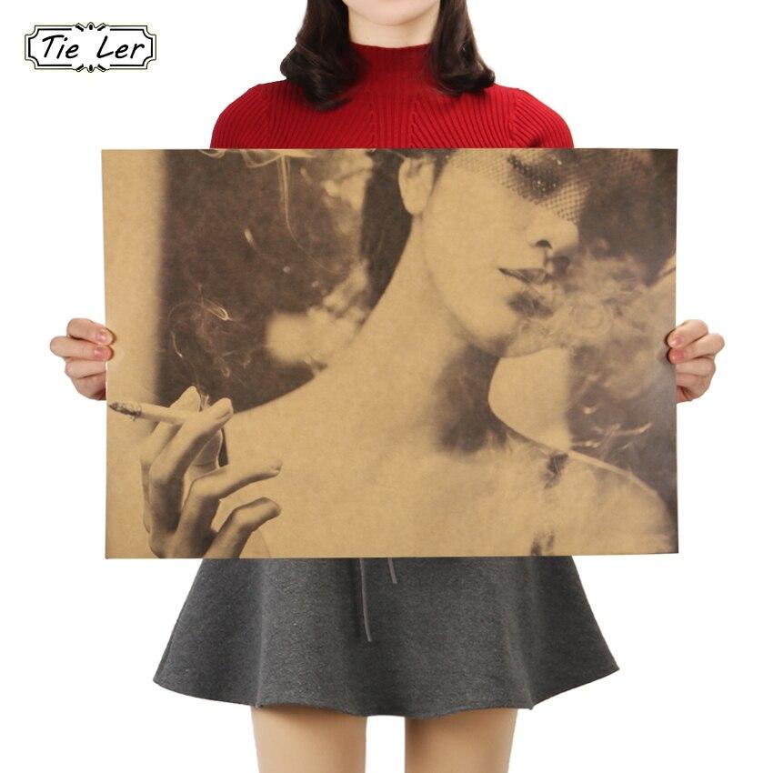 Галстук Лер для курения сексуальная девушка стикер стены известный классический Фото крафт-бумага Ретро плакат декоративный Рисунок для бара 51.5X36cm