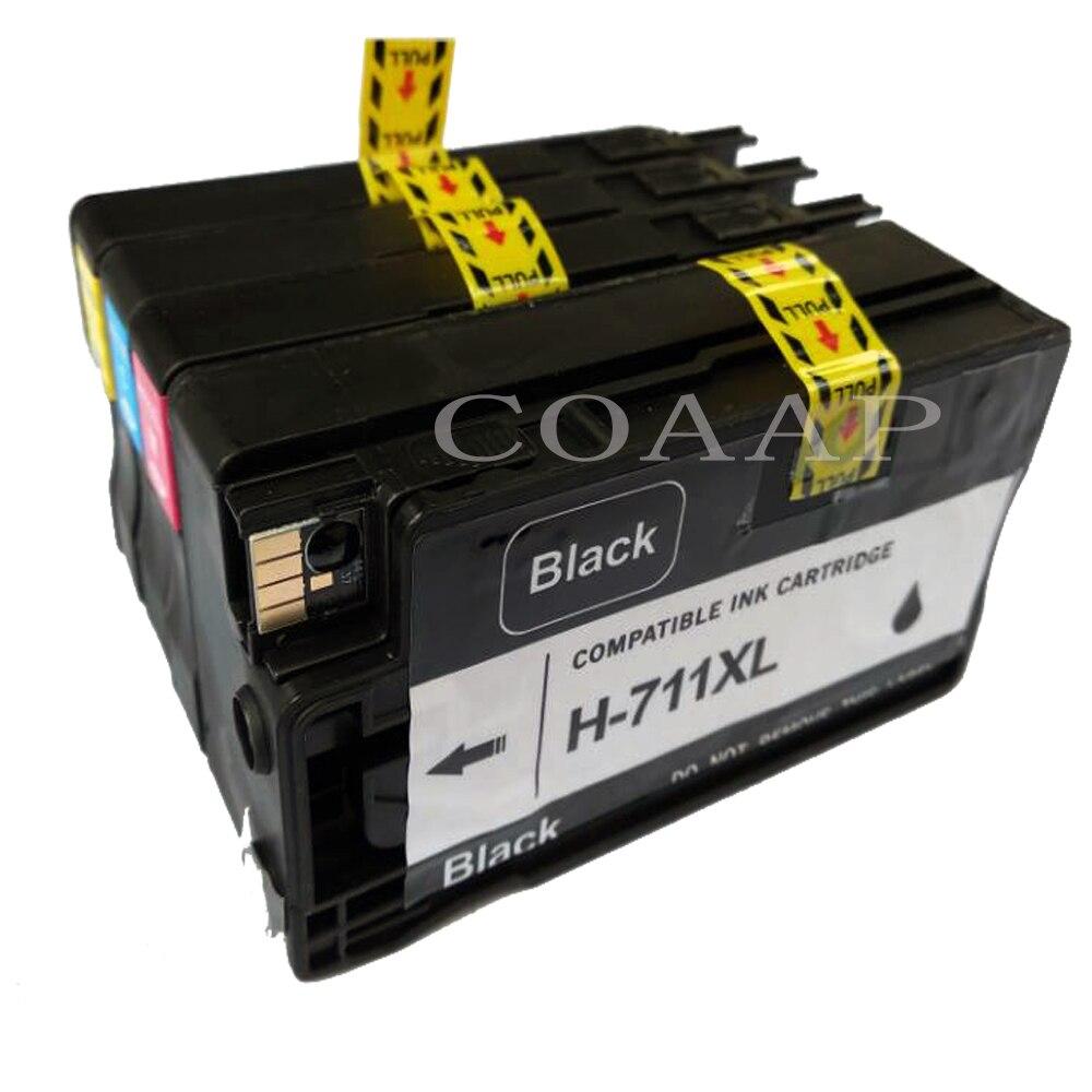 Paquete de 4 Compatible hp 711BK hp 711C hp 711 M hp 711Y cartucho de tinta para hp 711XL DesignJet T520 T120 impresora