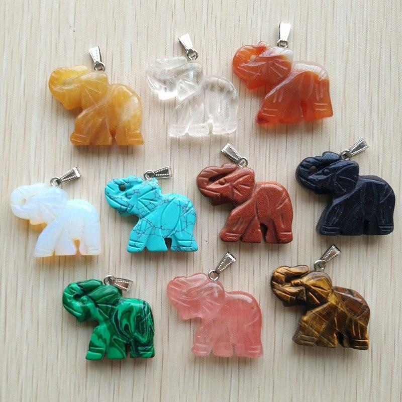 ¡OFERTA 2016! colgante de elefantes tallado en piedra natural mixta a la moda, fabricación de joyería, colgantes al por mayor, 10 unids/lote envío gratis