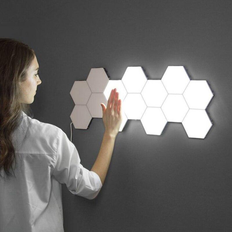 New Quantum Led Lamp Hexagonal Modular Touch Sensitive Night Light Magnetic Hexagons Creative Art Decoration Wall Lampara Light