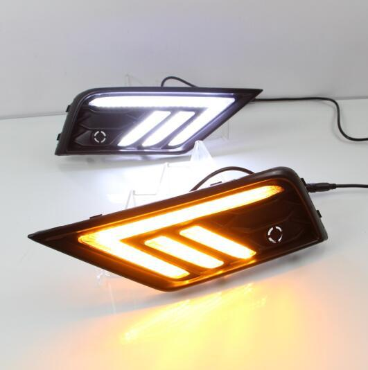 Luz intermitente para coche led drl diurna para 17-18 años VW Tiguan L Día luces antiniebla lámpara agujero cubierta función señal Luz