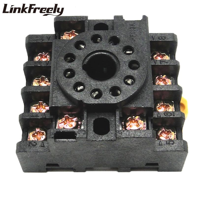 PF113A 10 Uds Base de zócalo de relé 3NO + 3NC 11 Pin soporte de zócalo de relé para JTX-3C JQX-10F/3C MK3P DH48 mini relé