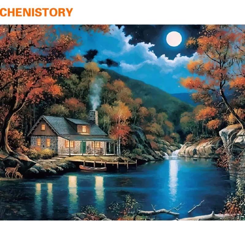 CHENISTORY Landscape картина «сделай сам» по номерам, настенное художественное изображение, Акриловая Краска на холсте, ручная работа для гостиной ...