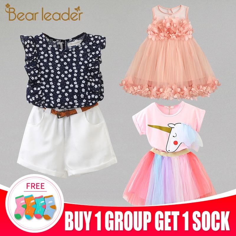 Bear Leader 2020 Hot Sale  Fashion Girls Clothing Sets Tshirt and Dress Colorful Pink Children sets