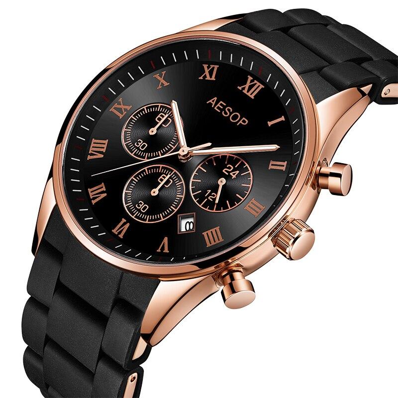 Часы AESOP, модные, высококлассные, брендовые, Роскошные, черные, силиконовые, на ремешке, часы, розовое золото, мужские часы, 5002