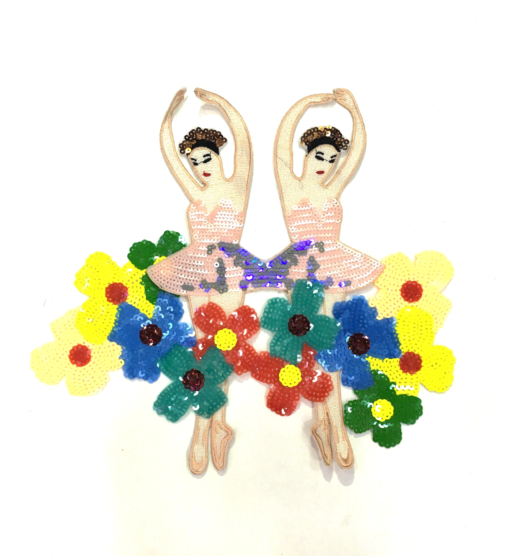 Parche de lentejuelas de Ballet de dibujos animados, apliques de tela bordados,...