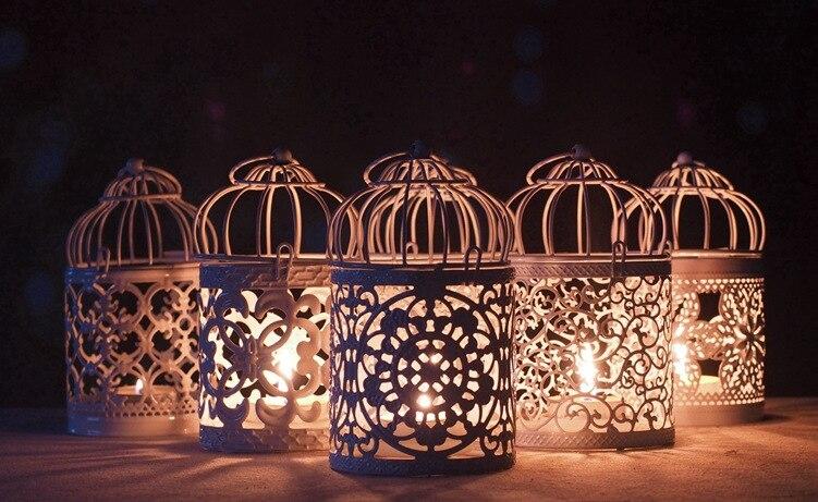6 stücke 8*8*14 cm Kreative Hohl Hängenden Vogelkäfig Kerzenhalter Kerzenhalter Laterne Braut Decor Vintage leuchter Wohnkultur