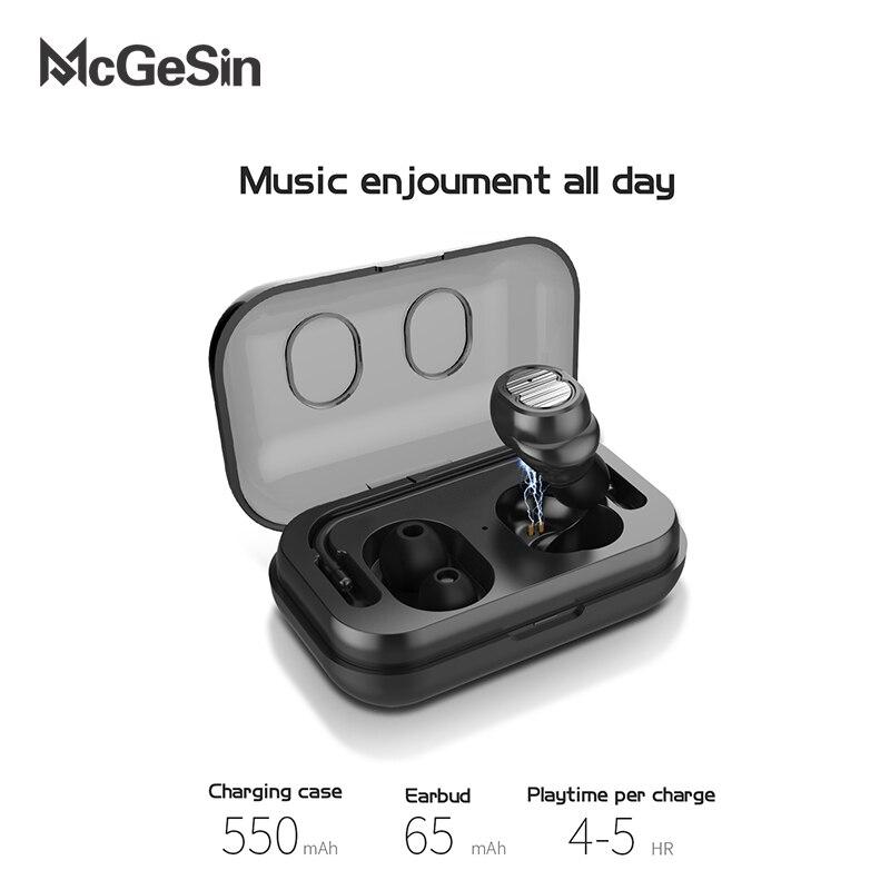 Auriculares inalámbricos con Bluetooth McGeSin TWS un solo Mini auricular con Control táctil estéreo con micrófono para teléfono