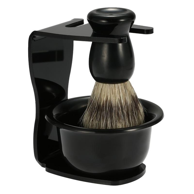 Maquinilla de afeitar Manual 3 en 1 para hombre, jabonera de afeitar + brocha de afeitar + soporte de afeitado, pinza de pelo para hombres, herramienta de limpieza de barba, regalo