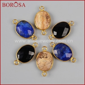 BOROSA Owyhee Picture Lapis Lazuli Black Obsidian Facted Gold Color Connetcor WX044