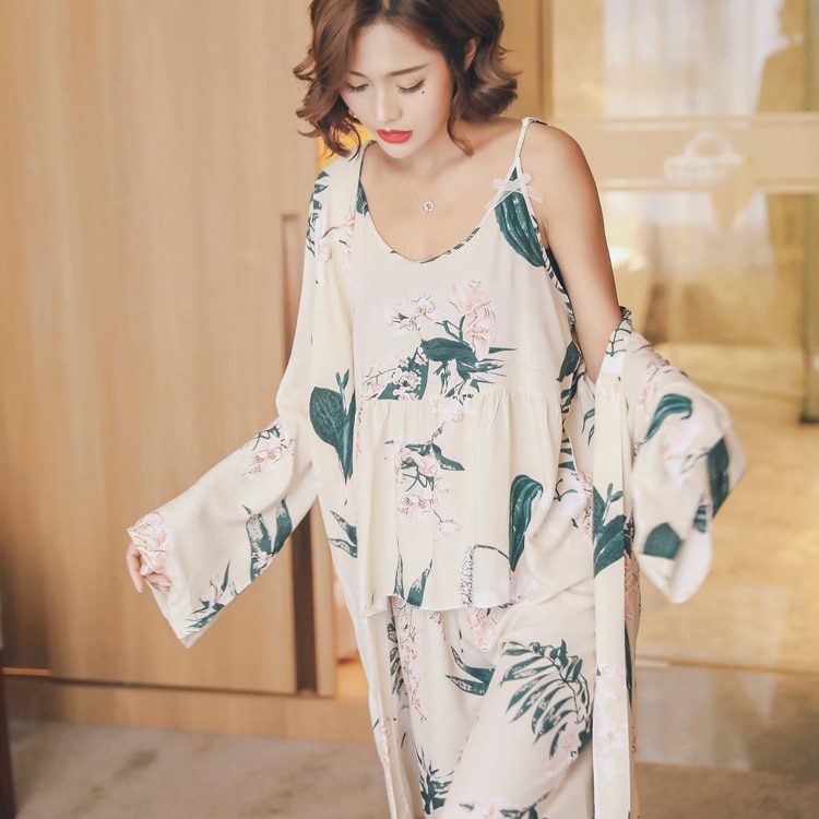 OllyMurs 3 PCS Floral Print Cotton Maternity Nursing Nightwear Summer Autumn Sleepwear for Pregnant Women Pregnancy Pajamas enlarge