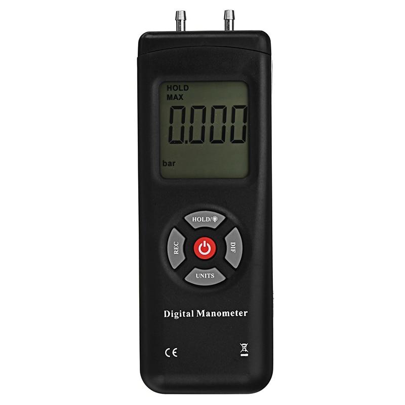 TL-102 lcd digital manômetro diferencial medidor de pressão ar 10psi data hold 11 unidades