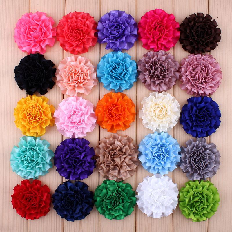 """30 יחחבילה 5.5 ס""""מ 25 צבעים יילוד שיק סאטן רצועת כלים פרחים לשיער לילדים אבזרים לשיער מלאכותי פרחי בד סרטי ראש"""