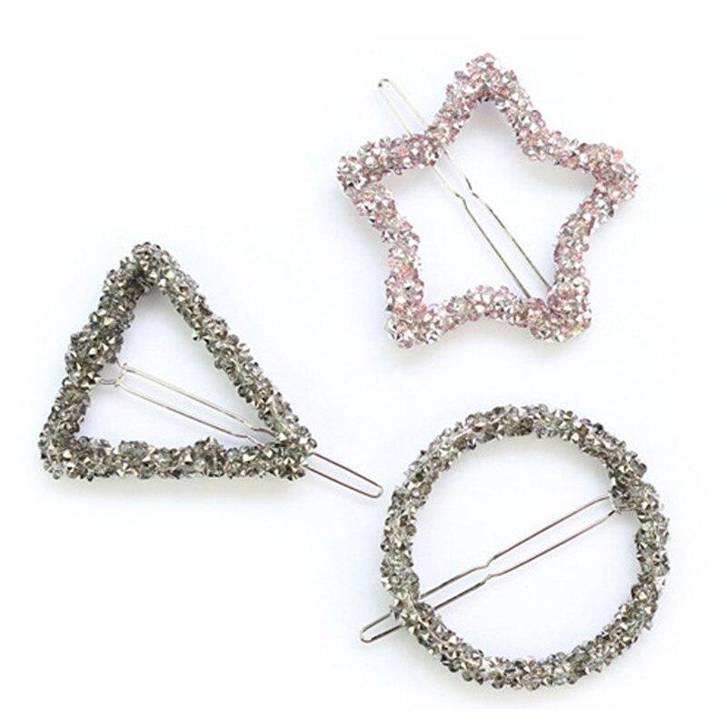 1 шт. Модный с кристаллами со стразами заколка для волос звезда треугольниками