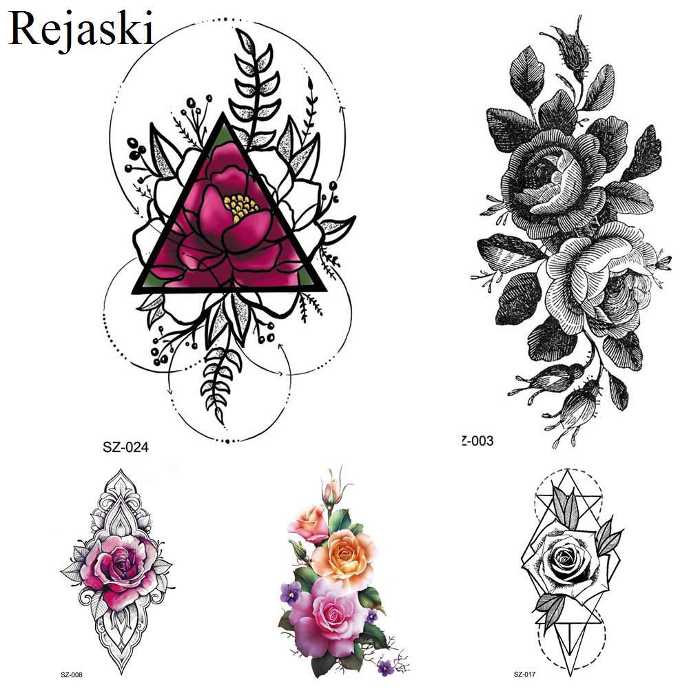 Rejaski Colorful Geometry Flower Temporary Tattoo Stickers Women Fake Tatoos Lotus Makeup Tips Water