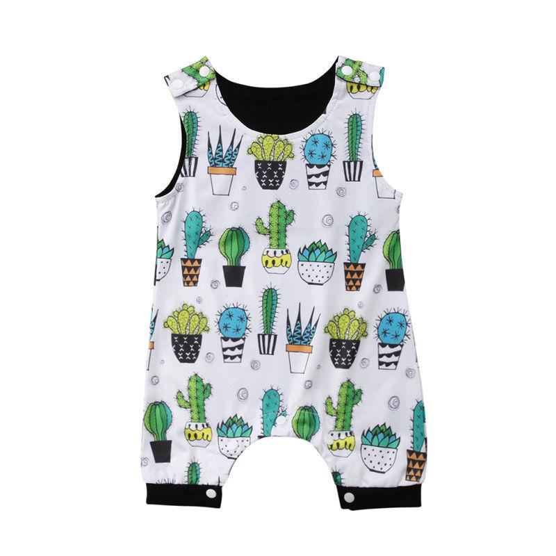 2019 nova marca recém-nascido infantil da criança do bebê menino menina floral sem mangas macacão roupas cactus outfit verão sunsuit