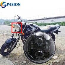 Black/Chrome motorcycle led headlight 7 inch 75W High/Low Beam 6000K White light for Honda CB400 CB500 CB1300 Headlamp