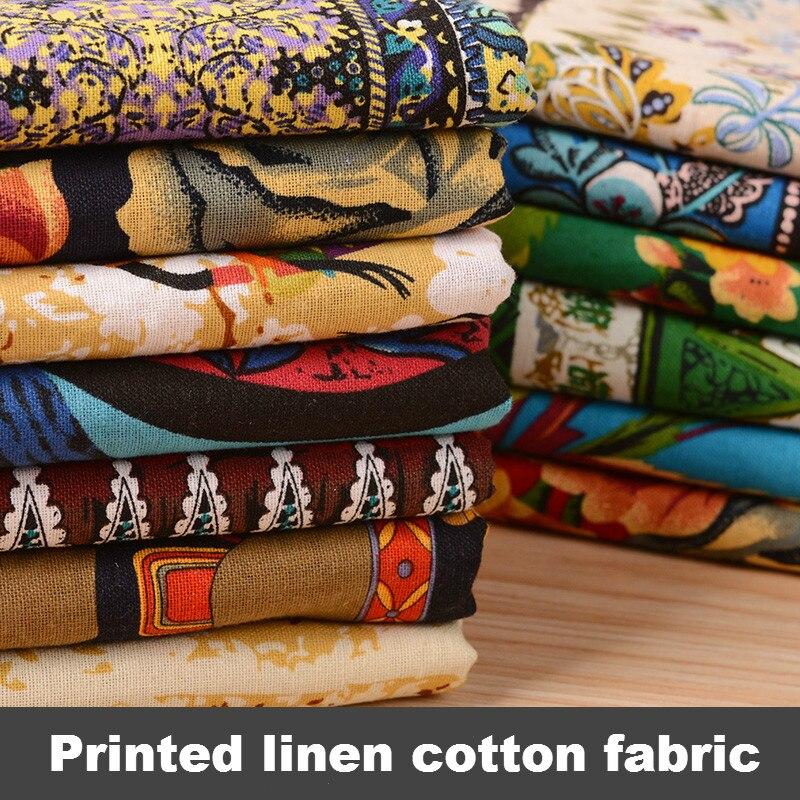 Tela de algodón estampada, tela Retro simmias hecha a mano, costura DIY, ropa, vestido, cortina, mantel, Sudeste Asiático, 145*50cm