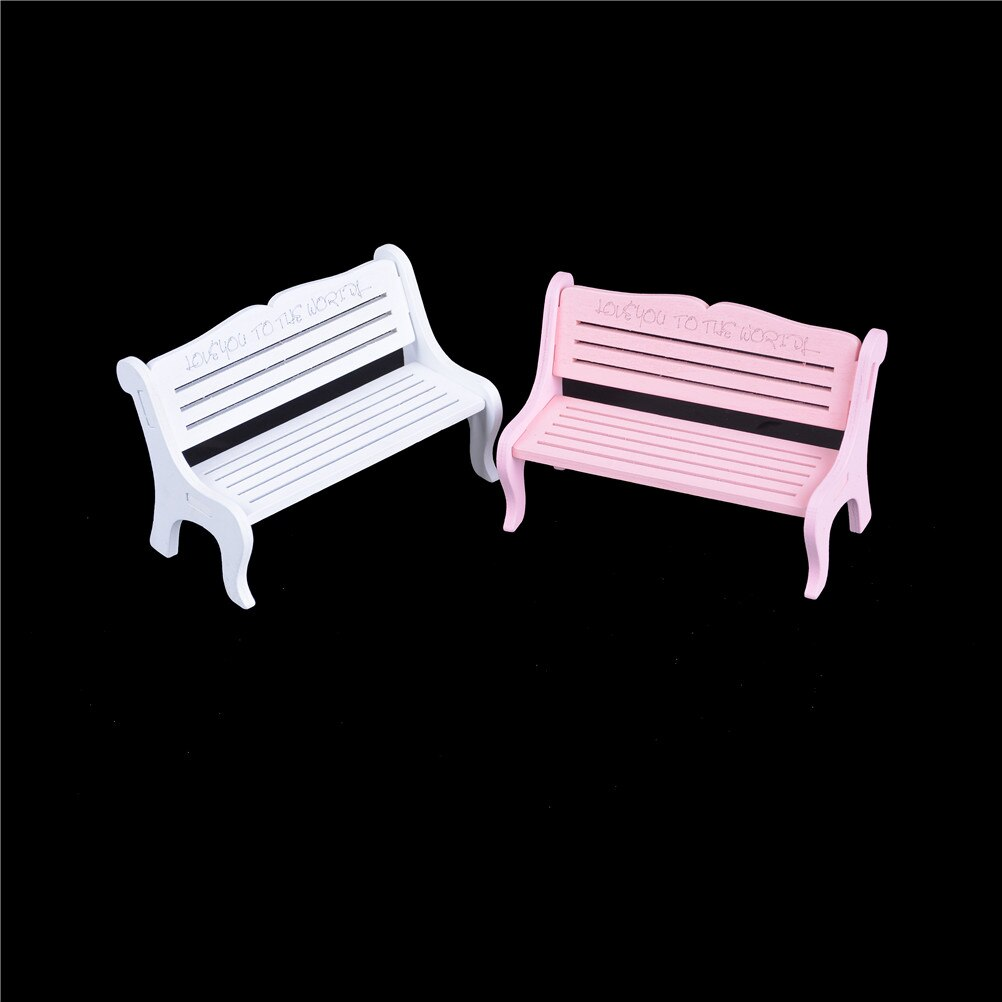 Hot musgo de terrario decoración figuritas miniaturas de jardín accesorios de micropaisajismo Mini blanco rosa Banco Hada muñeca sillas