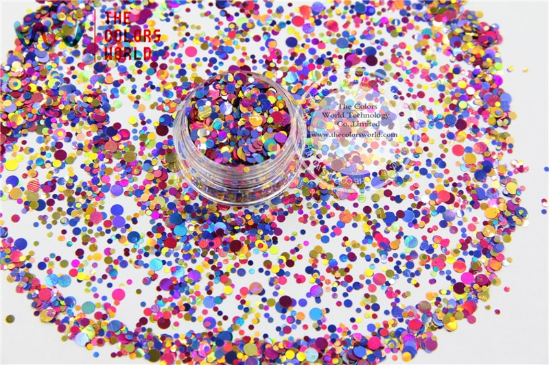 RA321-170  Mix Colors Dot shapes round  Glitter for nail art,nail gel,makeup  and DIY decoration