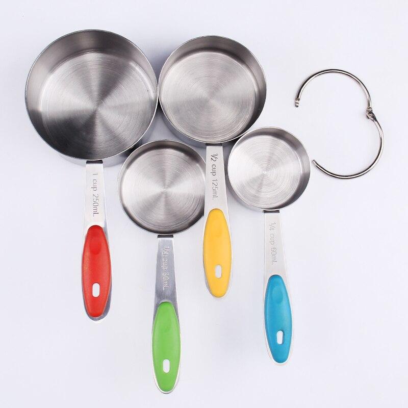 4 tazas de medición de acero inoxidable unids/set Kit de cuchara de medición para cocina utensilios de cocina