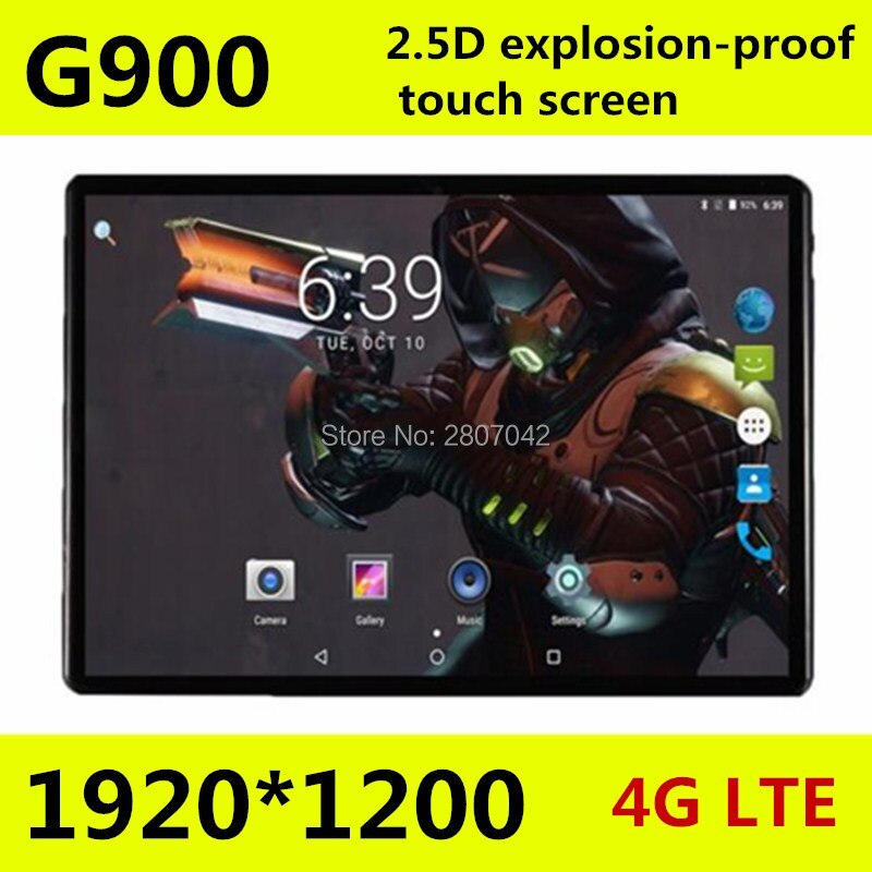 O envio gratuito de 10.1 polegada 2.5D 4G LTE tablet pc Octa núcleo tela 1920*1200 HD IPS 6GB 128GB wifi GPS Bluetooth Android 9.0 comprimidos