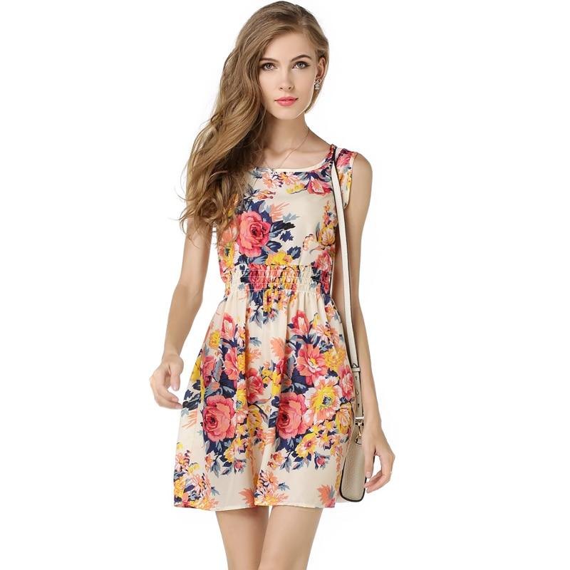 Woman Beach Dress Summer Boho Print Clothes Sleeveless Party Dress Casual Short Sundress Plus Size Floral Dress S092