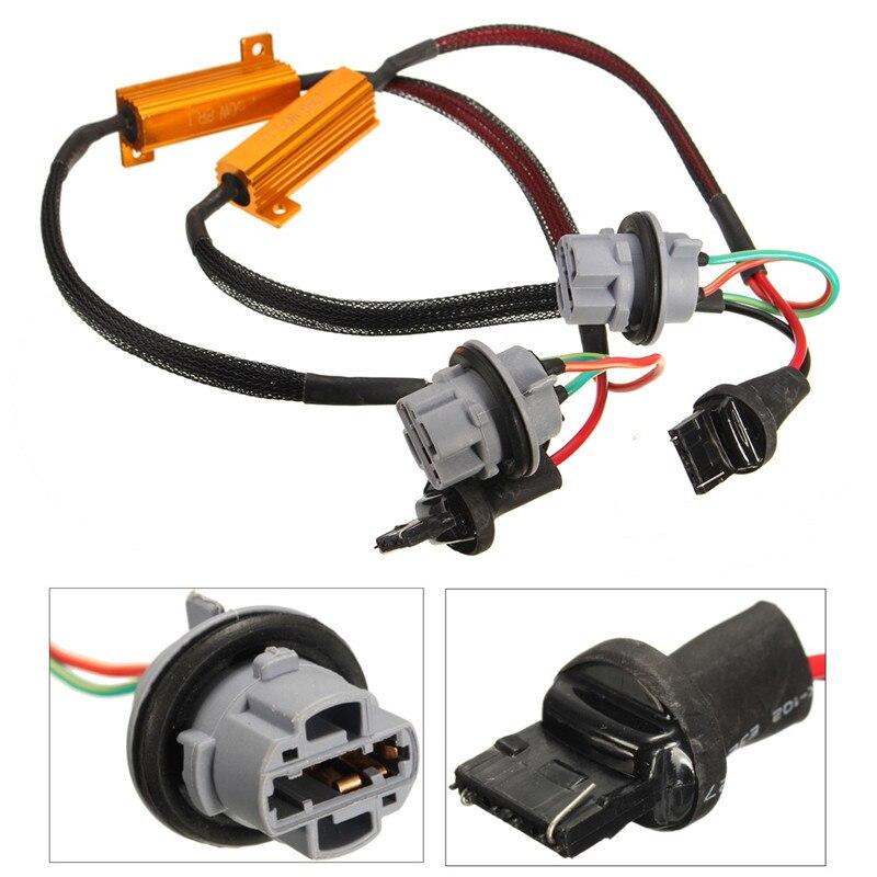 2 uds. 7440 W215W T20 Canbus resistencia sin errores decodificador LED cancelación de Error de advertencia para bombilla LED de señal de giro 50W