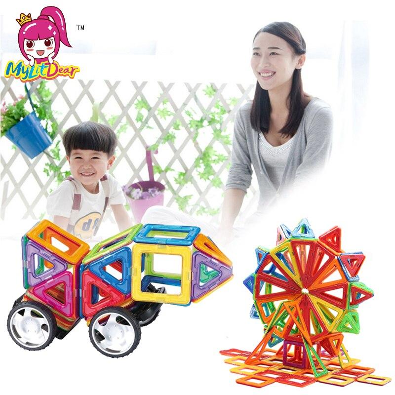 Mylitdear 2pcs/set Car Base Wheels Accessory Kids Magnetic Building Bricks Designer Magnet Blocks DIY Models Educational Toys
