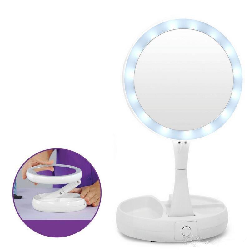 Espejo LED plegable para maquillaje, espejos de aumento profesionales 10X, espejo de escritorio triple plegable, herramienta de maquillaje con caja de almacenamiento